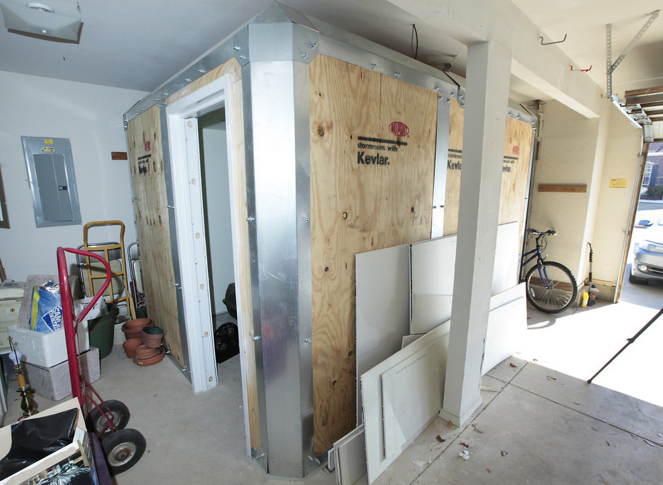 Photo - Kevlar above-ground shelter installed by Philip Slater, owner of Oklahoma Storm Rooms LLC.   Photo by David McDaniel, The Oklahoman  David McDaniel -