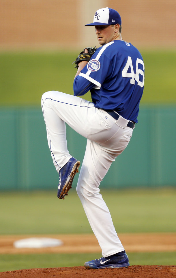 Photo -  Oklahoma City's Deck McGuire (46) pitches during a minor league baseball game between the Oklahoma City Dodgers and the Sacramento River Cats at the Chickasaw Bricktown Ballpark in Oklahoma City, Thursday, June 4, 2015. Photo by Nate Billings, The Oklahoman