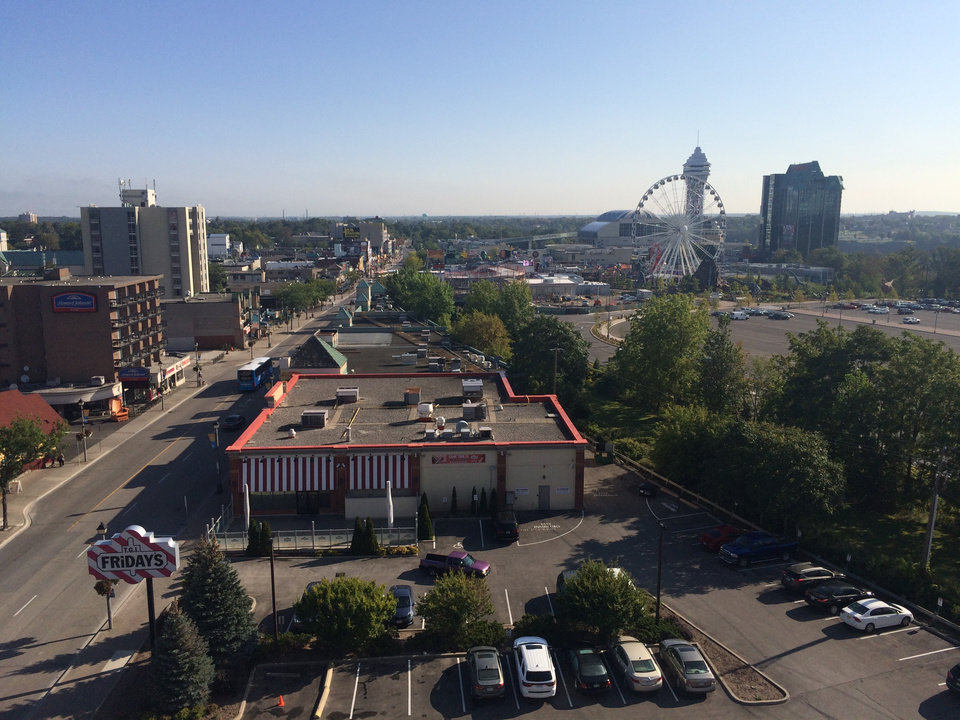 Photo - The view of Clifton Hill's entertainment district from our Niagara Falls hotel room. (Photo by Berry Tramel)