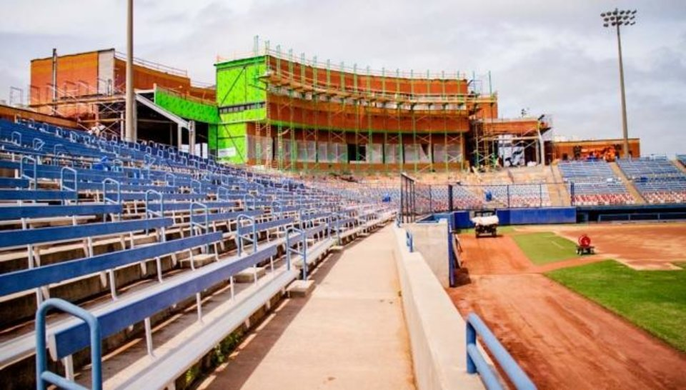 Photo -  The latest renovations at USA Softball Hall of Fame Stadium will change the fan experience at the Women's College World Series. Patience will be important as fans adjust to the changes, which most notably include a new two-story pressbox. [CHRIS LANDSBERGER/THE OKLAHOMAN]