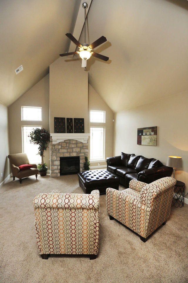 A vaulted ceiling adds volume to the living area of the Parade of Homes Spring Festival entry at 8440 NW 142.