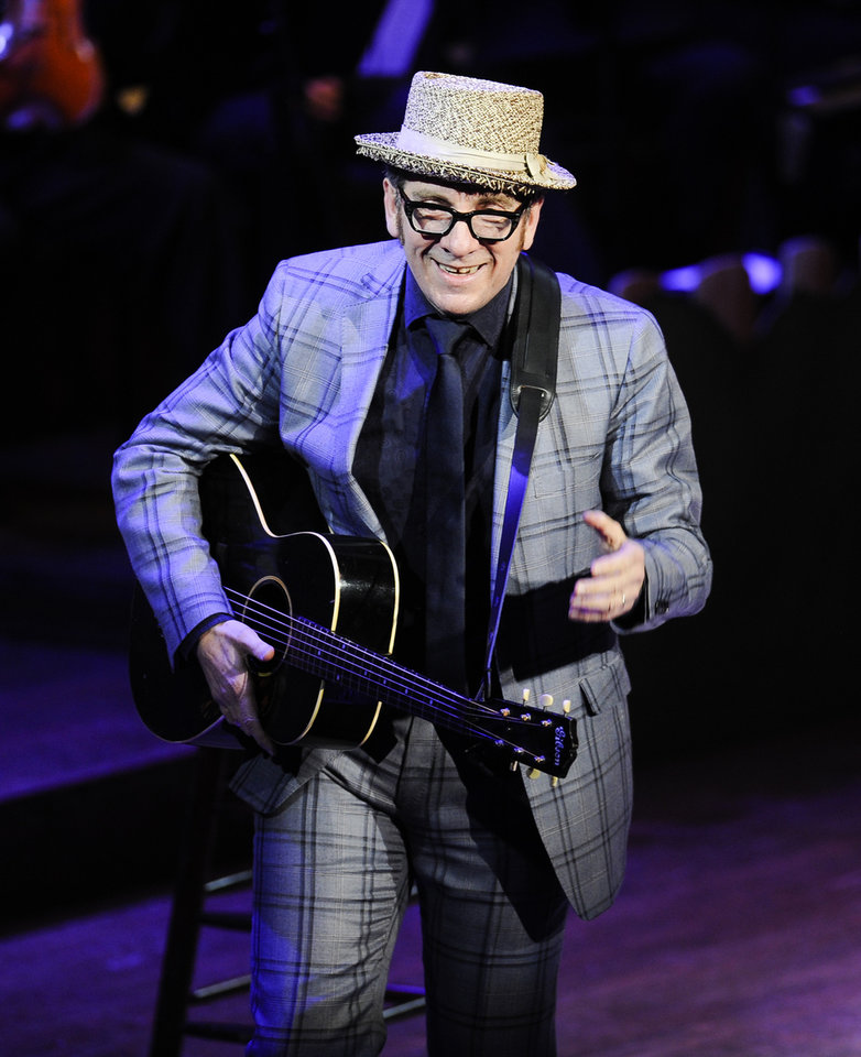 FILE - This April 2, 2012 file photo shows singer Elvis Costello performing at