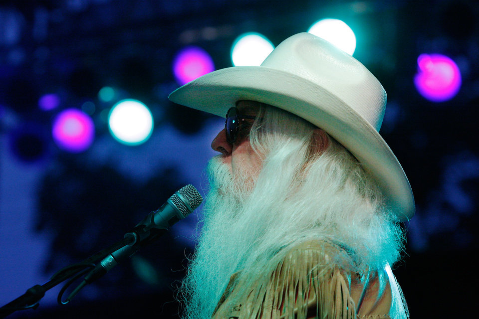 Photo - Lawton,  Oklahoma native Leon Russell performed nearly 90 minutes of non-stop hits for an enthusiastic audience at the Chesapeake Energy Stage at the Oklahoma State Fair,   Friday,night, Sep. 16, 2011. The Rock and Roll Hall of Famer's performance is thought to be his first showcase at the fair.   Photo by Jim Beckel, The Oklahoman  ORG XMIT: KOD