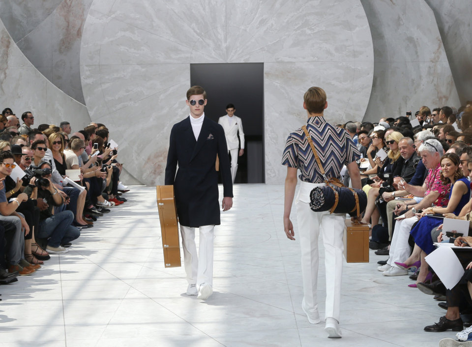 Photo - Models wear creations by British fashion designer Kim Jones  for Louis Vuitton men's spring-summer 2015 fashion collection presented in Paris, France, Thursday, June 26, 2014. (AP Photo/Jacques Brinon)