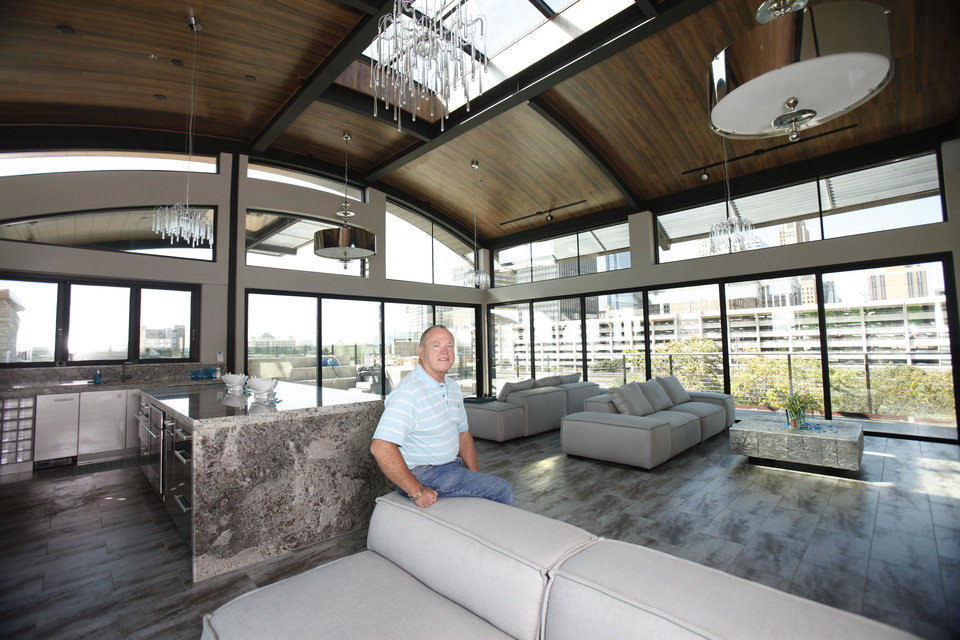 Larry Waters shows the entertaining area of his Clark Building in downtown Oklahoma City, OK, Tuesday, September 25, 2012.  By Paul Hellstern, The Oklahoman