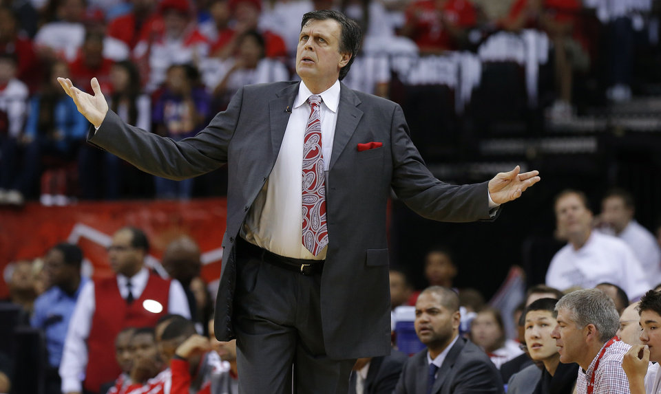 Houston coach Kevin McHale reacts during Game 3 in the first round of the NBA playoffs between the Oklahoma City Thunder and the Houston Rockets at the Toyota Center in Houston, Texas, Sat., April 27, 2013. Oklahoma City won 104-101. Photo by Bryan Terry, The Oklahoman