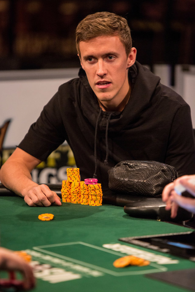 Photo - This June 18, 2014 photo provided by the World Series of Poker shows pro soccer player Max Kruse playing in the World Series of Poker at the Rio Casino in Las Vegas. Kruse, a German who was left off his country's World Cup team, placed third in his event and won $36,494 in prize money. (AP Photo/World Series of Poker, Melissa Haereiti)