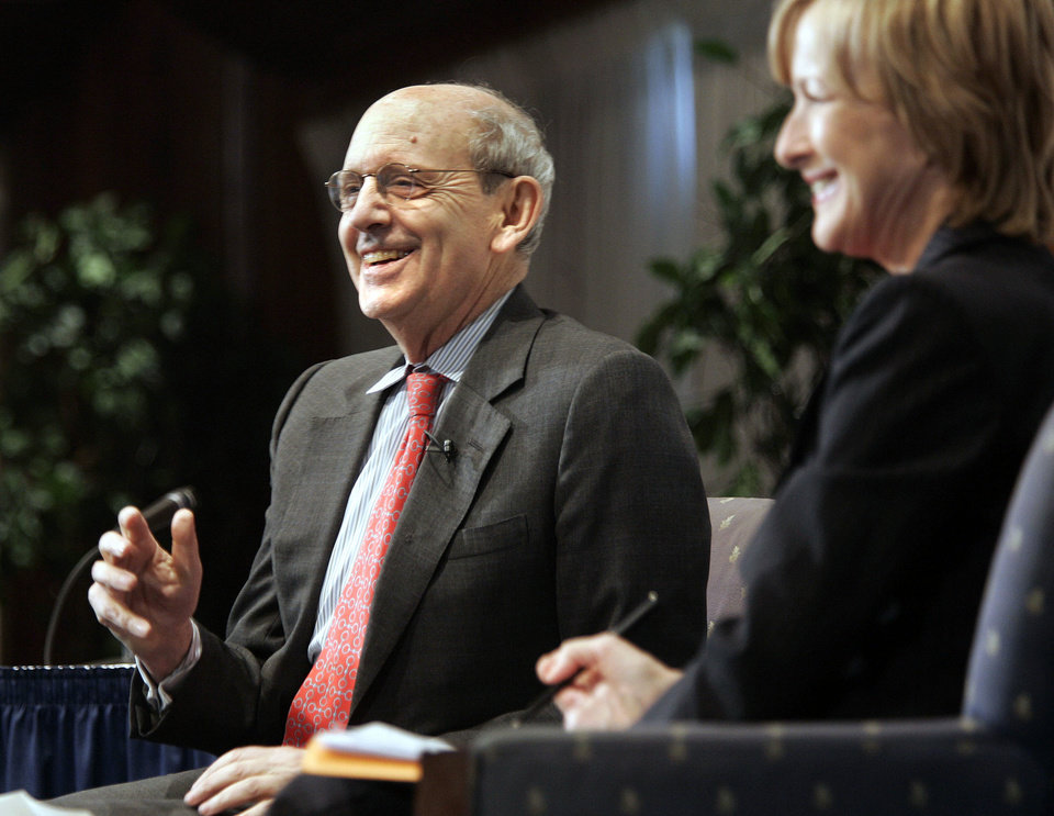 In this photo from 2006, Judy Woodruff, right, acts as moderator for a National Press Club event where U.S. Supreme Court Associate Justice Stephen Breyer, left, talked about the role of the Supreme Court in the American Democracy in Washington. AP Photo/Lawrence Jackson <strong>LAWRENCE JACKSON - ASSOCIATED PRESS</strong>