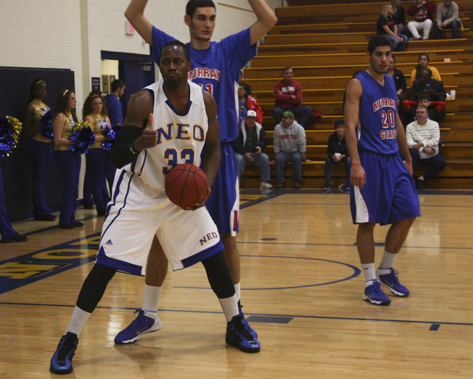 Igor Ibaka, younger brother of the Thunder\'s Serge Ibaka, plays for NEO in a game against Murray State. PHOTO BY ADAM KEMP, THE OKLAHOMAN
