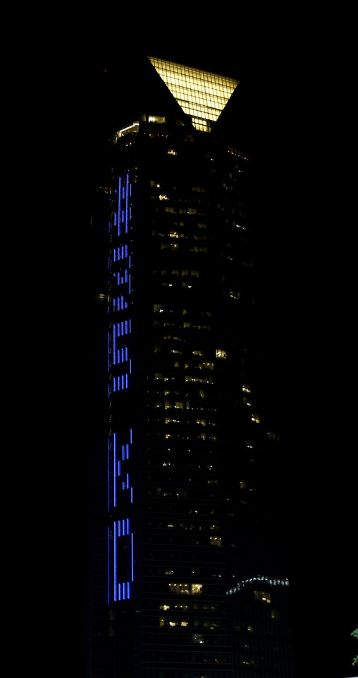 Photo - The Devon Tower displays #35 KD in celebration of the Thunder's Kevin Durant recieving the NBA MVP award in Oklahoma City, Tuesday, May6, 2014. PHOTO BY BRYAN TERRY, The Oklahoman