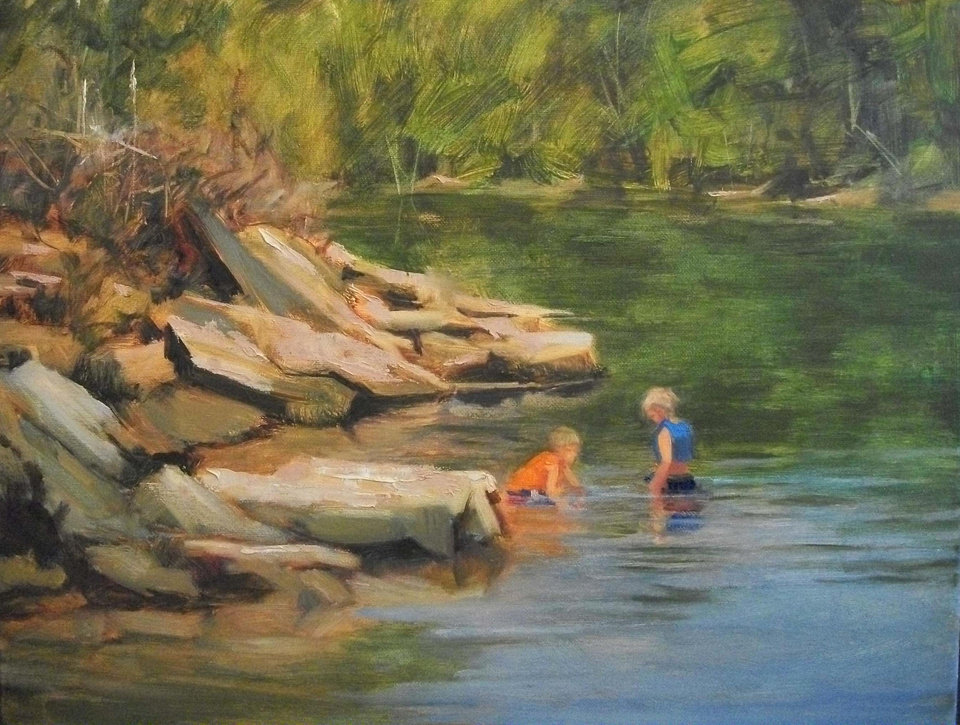 �Playing in the Flint Creek,� an oil by Margaret  Aycock. Photo provided