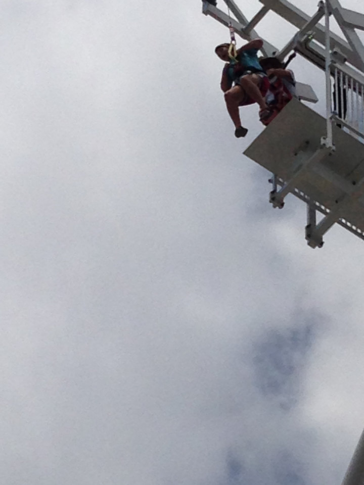 Photo -  A member of the St. Luke's United Methodist Church youth group about to jump off the Rumble Drop, an 80-foot free fall. Photo provided by Charlie Ludden.