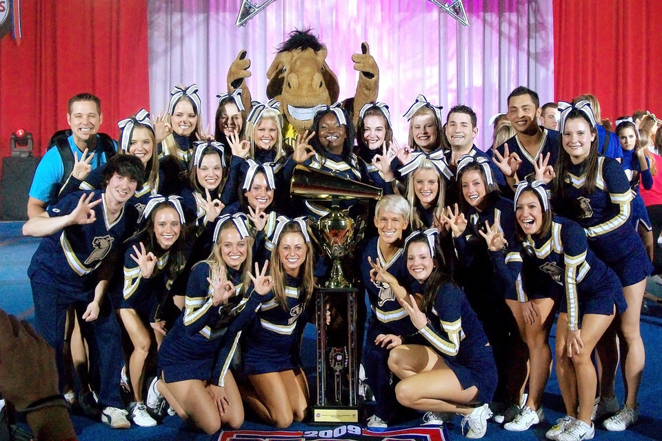 UCO cheerleading team after it won the national title at the National Cheer Association/National Dance Alliance Collegiate Championships. Photo Provided
