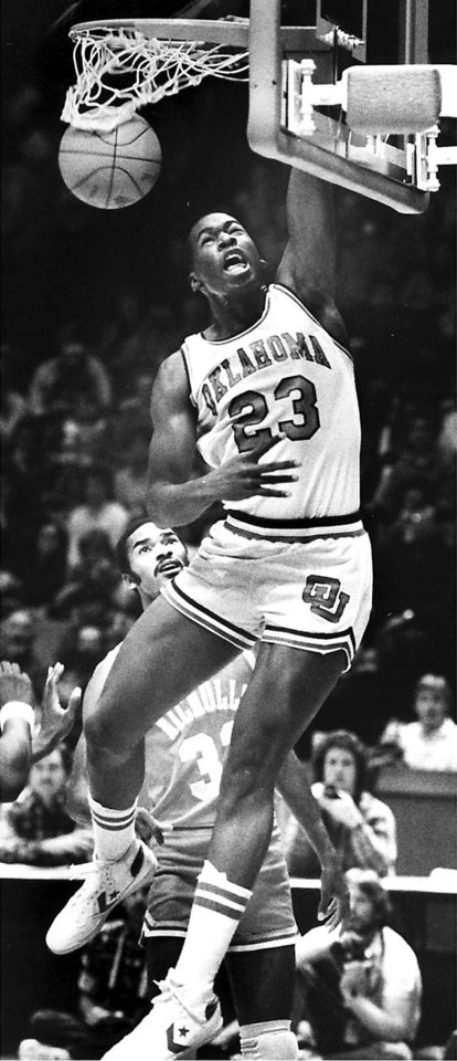 Photo - Wayman Tisdale, All-Century OU College Basketball Team (Original photo taken 01/14/84, ran 01/15/84 and 03/15/84)