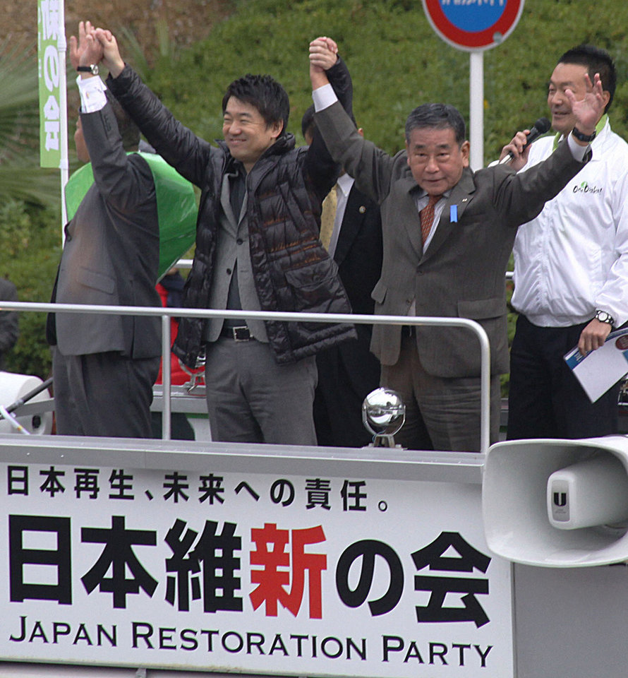 "Photo - In this Nov. 23, 2012 photo, Osaka Mayor and co-leader of the Japan Restoration Party Toru Hashimoto, foreground center, along with Shingo Nishimura, foreground right, a former member of the House of Representatives, waves to supporters during their party's election campaign in Sakai, Osaka prefecture, western Japan. Hashimoto apologized after saying, and later tweeting, that sex slavery by Japan's Imperial Army before and during World War II was a ""necessary"" wartime evil and suggesting that the U.S. military patronize adult entertainment to help reduce sex crimes committed by American troops. (AP Photo/Kyodo News) JAPAN OUT, MANDATORY CREDIT"