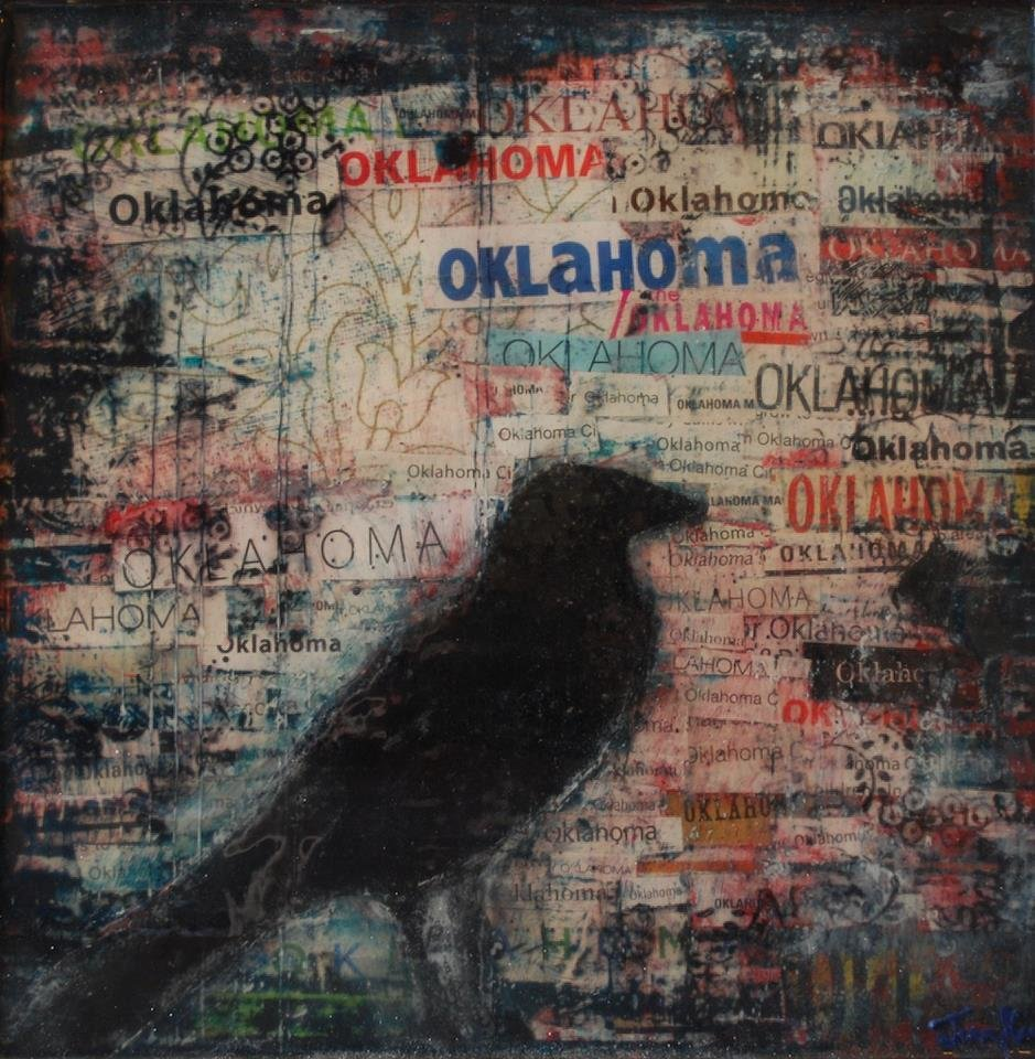 "Michelle Junkin's mixed-media/acrylic painting ""Oklahoma Blackbird V2"" will be featured in her exhibit ""On the Rise"" opening Friday night at Individual Artists of Oklahoma Gallery during the Final Friday on Film Row art walk. Photo provided.   <strong></strong>"