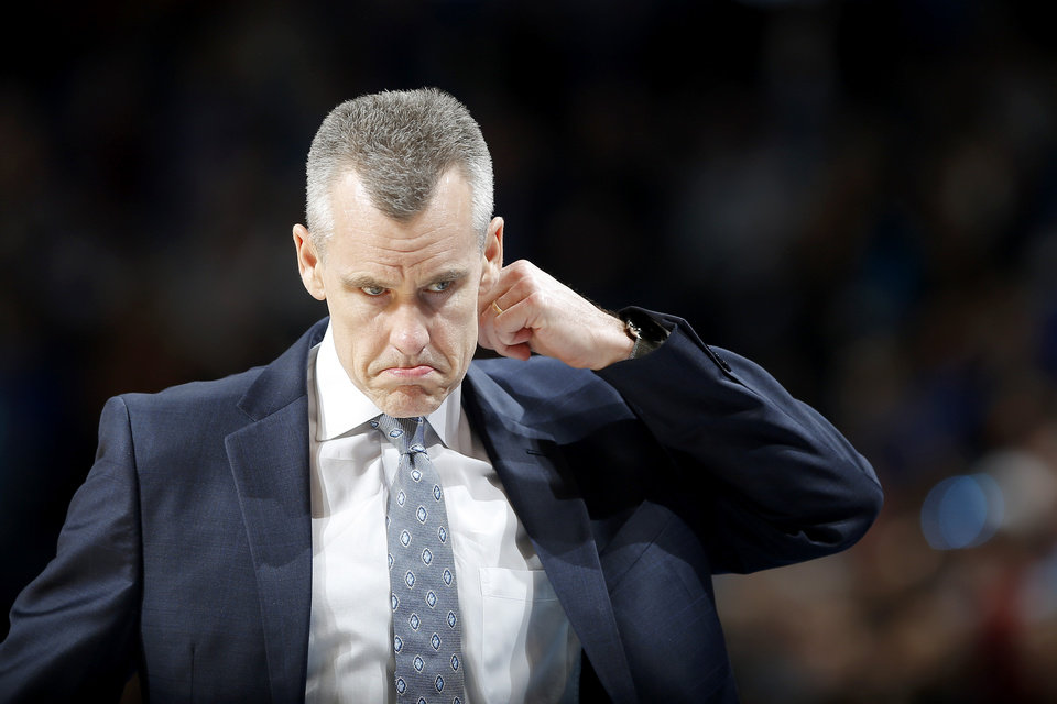 Photo - Oklahoma City coach Billy Donovan walks back towards the bench during an NBA basketball game between the Oklahoma City Thunder and the Sacramento Kings at Chesapeake Energy Arena in Oklahoma City, Saturday, Feb. 23, 2019. Sacramento won 119-116. Photo by Bryan Terry, The Oklahoman