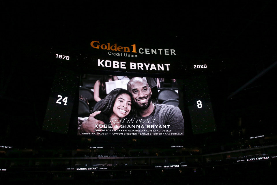 Photo - Jan 29, 2020; Sacramento, California, USA; The Sacramento Kings play a special tribute video honoring the late Kobe Bryant and his daughter Gianna Bryant before the game against the Oklahoma City Thunder at Golden 1 Center. Mandatory Credit: Sergio Estrada-USA TODAY Sports
