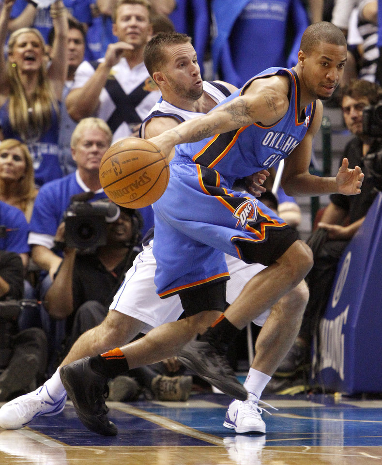 Oklahoma City's Eric Maynor (6) tries to get past Jose Juan Barea (11) of Dallas during game 2 of the Western Conference Finals in the NBA basketball playoffs between the Dallas Mavericks and the Oklahoma City Thunder at American Airlines Center in Dallas, Thursday, May 19, 2011. Photo by Bryan Terry, The Oklahoman