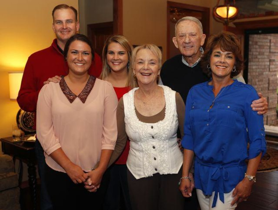 From left Ken Whittington, Sara Whittington, Alli Whittington, Mary Ann and Jim Markey, and their daughter Susan Markey Whittington pose for a photo during the Markey's the 50th anniversary party in Edmond, Saturday, March 23, 2013. Photo by Bryan Terry, The Oklahoman