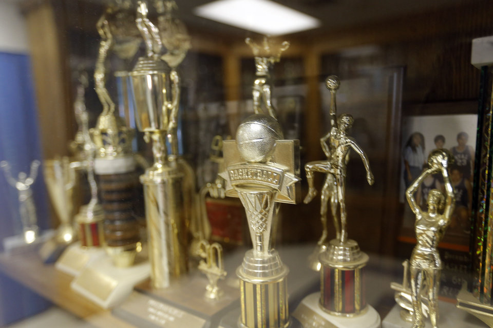 Photo - Sports trophies are pictured at Ryal Public School, Wednesday, Feb. 13, 2013. Photo by Sarah Phipps, The Oklahoman