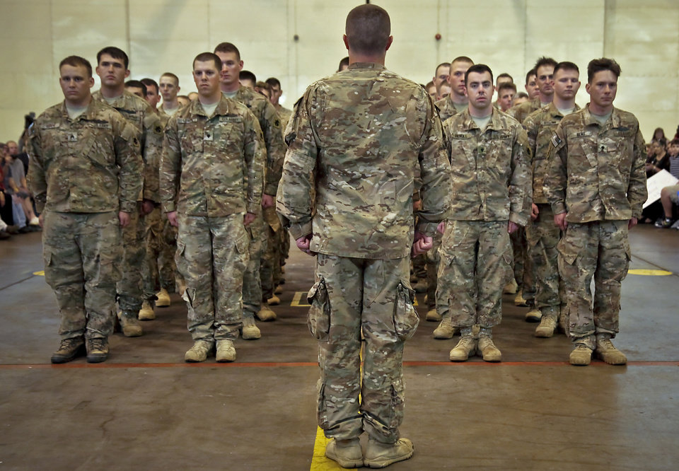 The troops are dismissed during the return ceremony for the National Guard's 45th Infantry Brigade Combat Team troops at the National Guard Base on Thursday, March 15, 2012, in Oklahoma City, Oklahoma.  Photo by Chris Landsberger, The Oklahoman