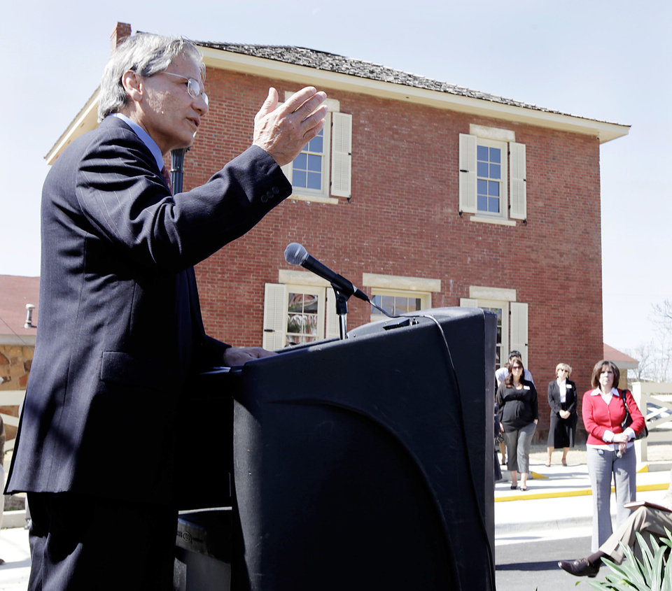 Photo - : Principal Chief Chad Smith speaks Wednesday at the Cherokee National Supreme Court Museum in Tahlequah. Photo by MIKE SIMONS, Tulsa World