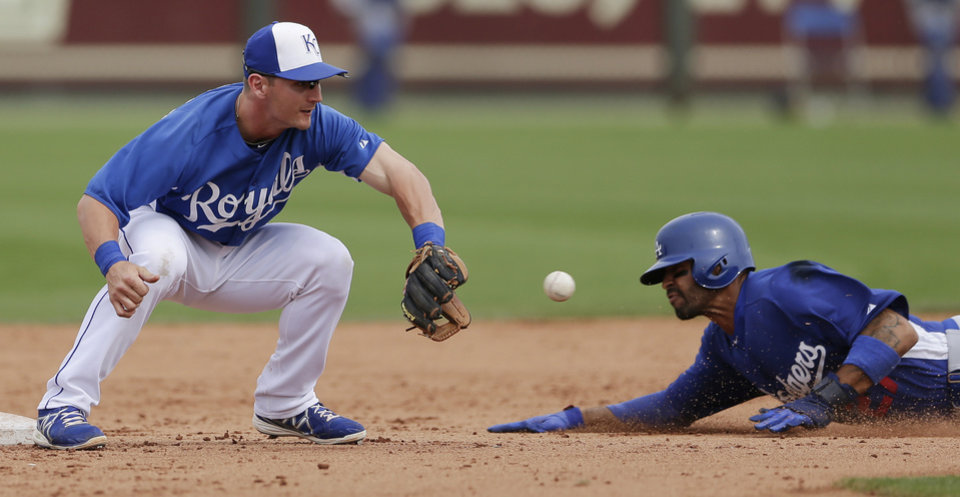 Kansas City Royals second baseman Johnny Giavotella, left, waits for the throw as Los Angeles Dodgers\' Matt Kemp steals second base during the seventh inning in a spring training baseball game Wednesday, March 20, 2013, in Surprise, Ariz. (AP Photo/Gregory Bull)