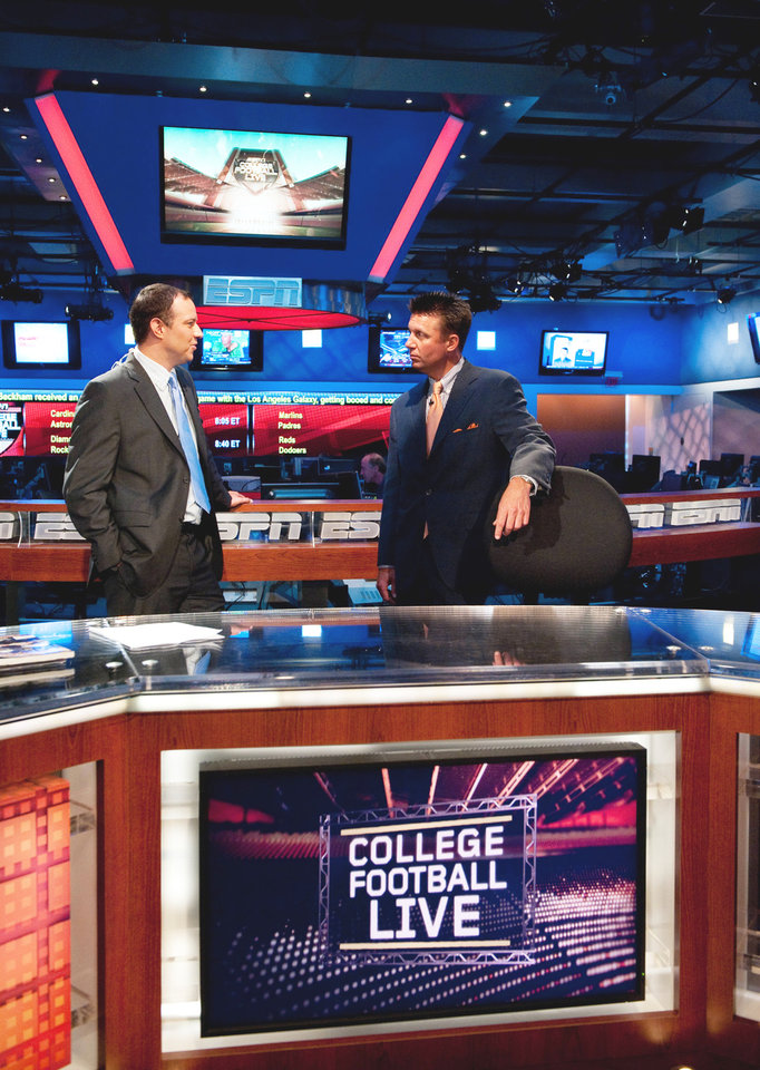 ESPN's Joe Schad, left, talks interviews OSU coach Mike Gundy on the set of College Football Live last week in Bristol, Conn. (Photo courtesy ESPN)
