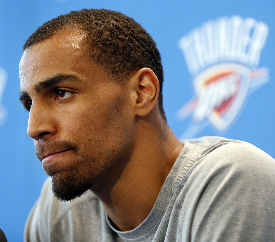 Photo - Thabo Sefolosha during exit interviews with the media for the Oklahoma City Thunder at the team's practice facility in Oklahoma City, Sunday, June 1, 2014. PHOTO BY NATE BILLINGS, The Oklahoman
