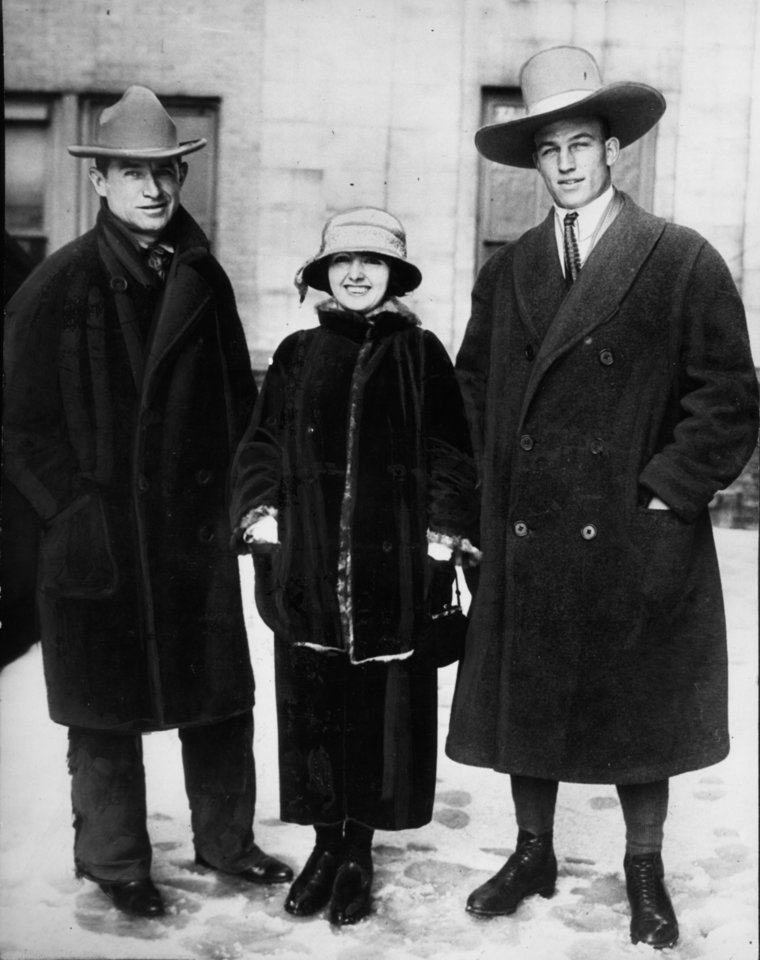 "Will Rogers, left, is shown with Helen Cody Allen, grandniece of ""Buffalo Bill"" Cody, and Lloyd Coleman, cowboy roping champion. AP File Photo"