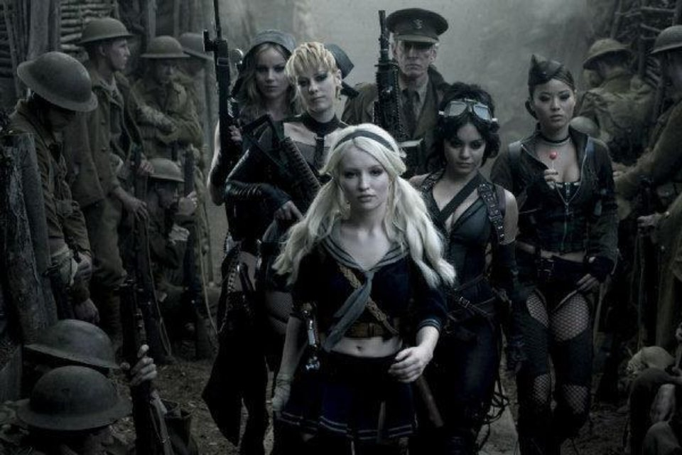 From left, Abbie Cornish as Sweet Pea, Jena Malone as Rocket, Emily Browing as Babydoll, Scott Glenn as the Wise Man, Vanessa Hudgens as Blondie and Jamie Chung as Amber in
