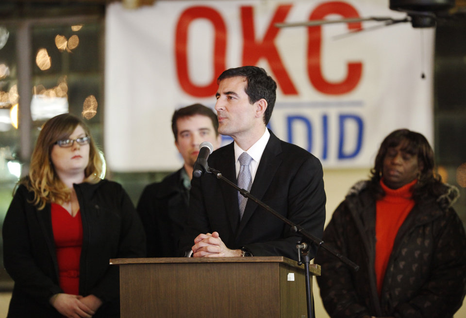 Photo -  Oklahoma City mayoral candidate and councilman Ed Shadid announces his concession from the race at a gathering Tuesday at the Oklahoma City Farmers Market. Shadid lost the mayoral race to incumbent mayor Mick Cornett. Photo by K.T. King, The Oklahoman   KT King -