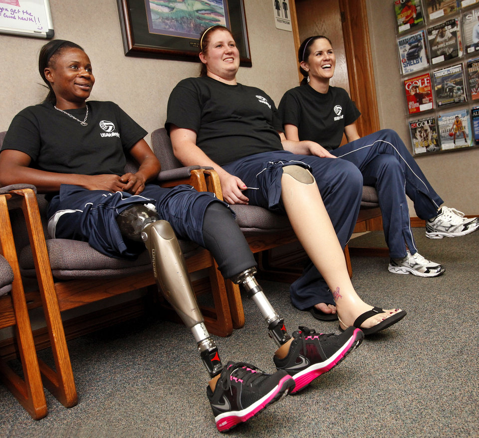 Photo - From left, Kari Miller, Heather Erickson and Michelle Schiffler were photographed in August before leaving for the Paralympic Games in London.  Photo by Jim Beckel, The Oklahoman