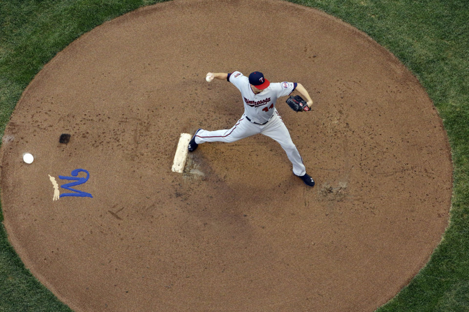 Photo - Minnesota Twins starting pitcher Kyle Gibson throws during the first inning of a baseball game against the Milwaukee Brewers Monday, June 2, 2014, in Milwaukee. (AP Photo/Morry Gash)