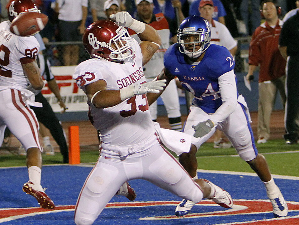 Photo - Oklahoma's Trey Millard (33) misses a pass in the end zone on third down in front of Kansas' Bradley McDougald (24) during the college football game between the University of Oklahoma Sooners (OU) and the University of Kansas Jayhawks (KU) on Sunday, Oct. 16, 2011. in Lawrence, Kan. Photo by Chris Landsberger, The Oklahoman