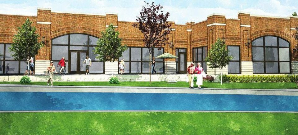 Developer Randy Hogan is seeking Urban Renewal approval for a building that would have no openings to the Bricktown Canal on the west half of the property and limited access on the east half. A stretch of grass and a few trees would separate the building from the canal. <strong>Rees Associates</strong>