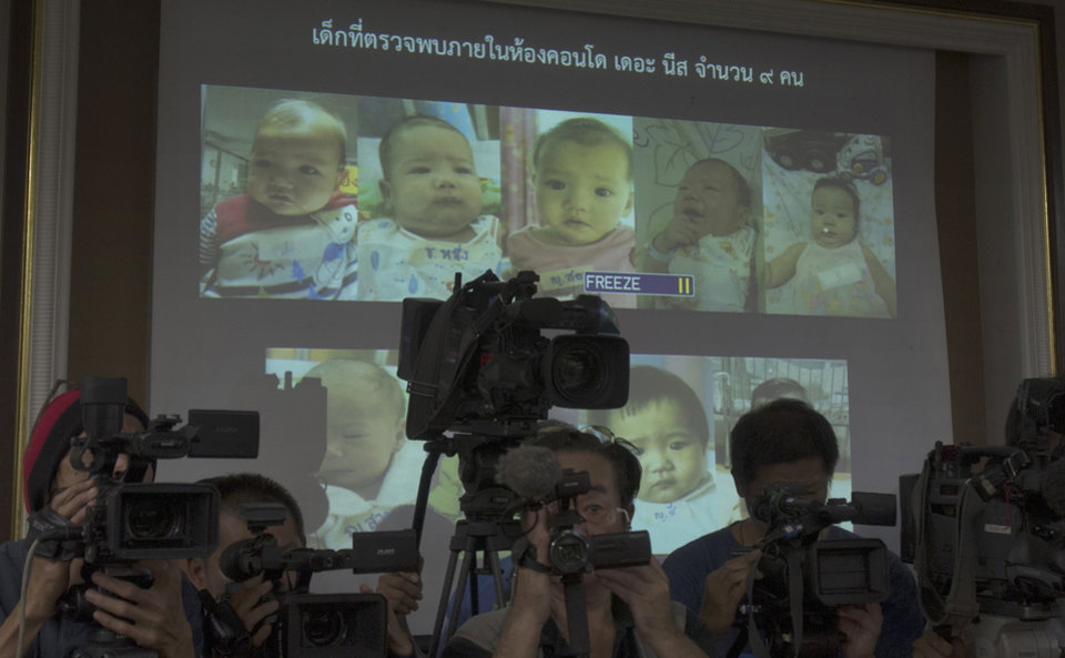 Photo - FILE - In this Tuesday, Aug. 12, 2014 file photo, Thai police display pictures of surrogate babies born to a Japanese man who is at the center of a surrogacy scandal during a press conference at the police headquarters in Chonburi, Thailand. A string of recent scandals has lifted a lid on Thailand's largely unregulated commercial surrogacy industry, which has been around for over a decade.  (AP Photo/Sakchai Lalit)