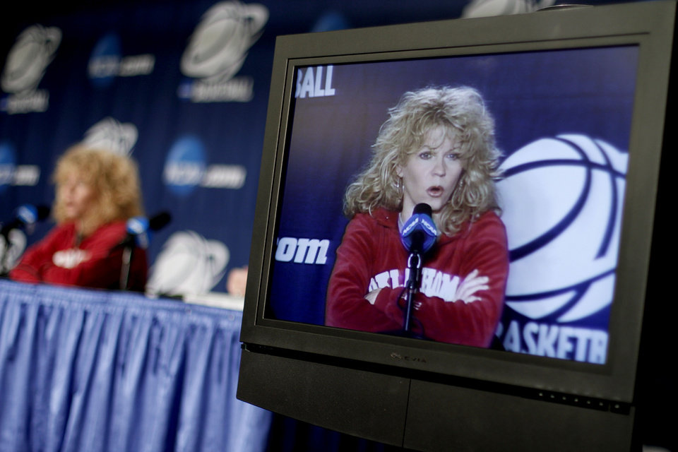 OU coach Sherri Coale speaks during press conference in Kansas City, Mo., on Saturday, March 27, 2010. The University of Oklahoma will play Notre Dame in the Sweet 16 round of the NCAA women's  basketball tournament on Sunday.