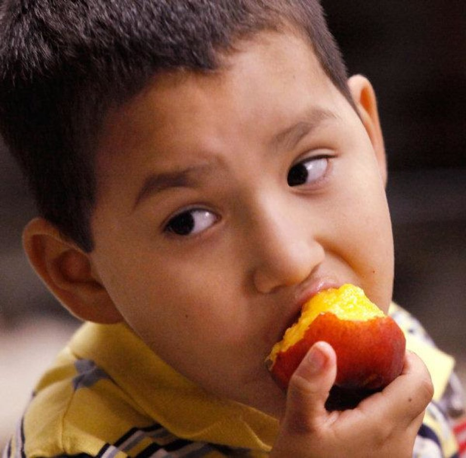 Photo - Adrian Vasquez, 4, bites into a piece of fruit during an afternoon meal. Vasquez is among dozens of children who are receiving healthy snacks and meals through a summer feeding program for children.  Novo Ministries partnered with the  Regional Food Bank of Oklahoma to feed the children during the summer months while they are out of school. These children are at the Ambassador Courts Community Center.   JIM BECKEL - THE OKLAHOMAN