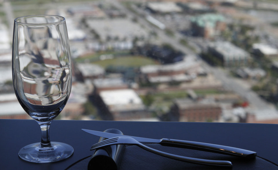 Photo - The view from Vast restaurant in the Devon Tower in Oklahoma City is seen. Photo By Steve Gooch, The Oklahoman  Steve Gooch - The Oklahoman