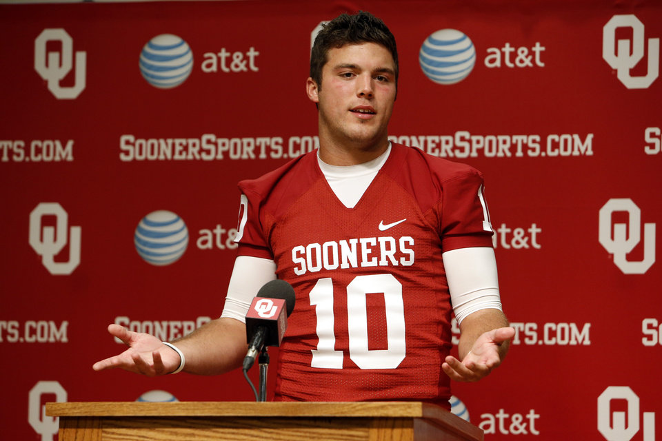 COLLEGE FOOTBALL / MUG: Quarterback Blake Bell speaks during media access day for the University of Oklahoma Sooner (OU) football team in the Adrian Peterson meeting room in Gaylord Family-Oklahoma Memorial Stadium in Norman, Okla., on Saturday, Aug. 3, 2013. Photo by Steve Sisney, The Oklahoman