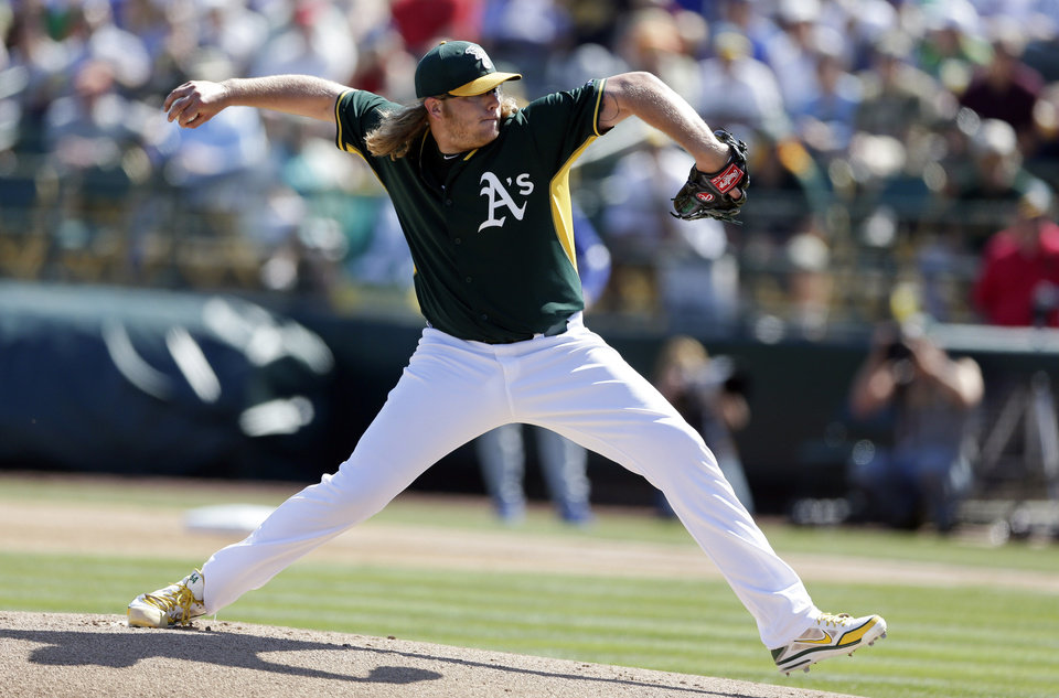 Photo - Oakland Athletics starting pitcher A.J. Griffin throws to a Los Angeles Dodgers batter during the first inning of a spring training baseball game Monday, March 3, 2014, in Phoenix. (AP Photo/Gregory Bull)
