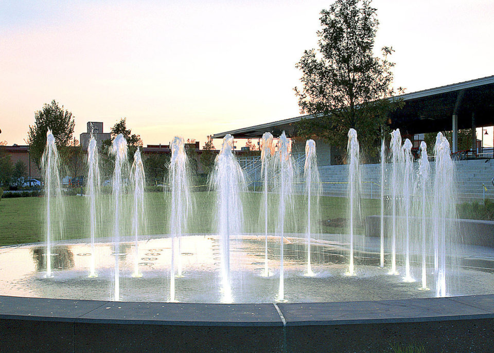 The Guthrie Green fountains are among new attractions in Tulsa's Brady District. PHOTO PROVIDED BY SAXUM