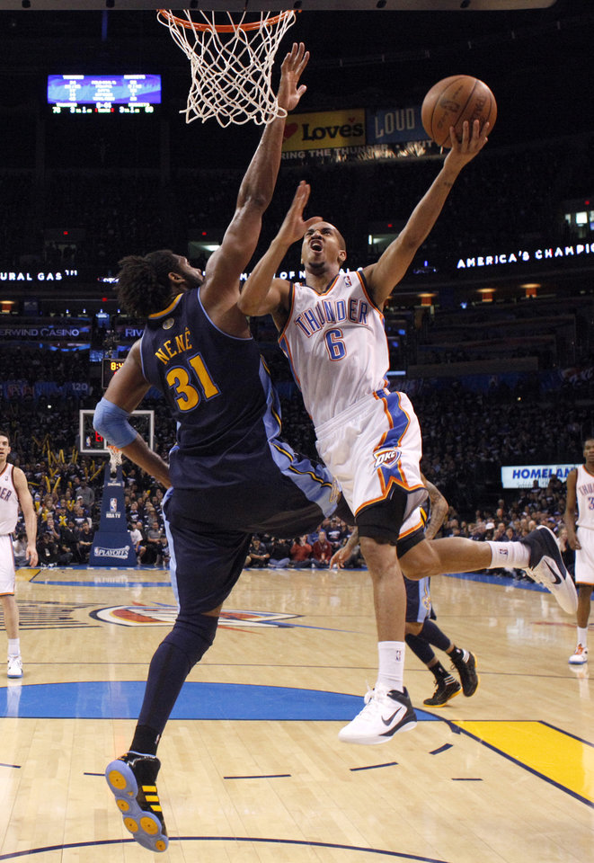 during the NBA basketball game between the Denver Nuggets and the Oklahoma City Thunder in the first round of the NBA playoffs at the Oklahoma City Arena, Wednesday, April 27, 2011. Photo by Sarah Phipps, The Oklahoman