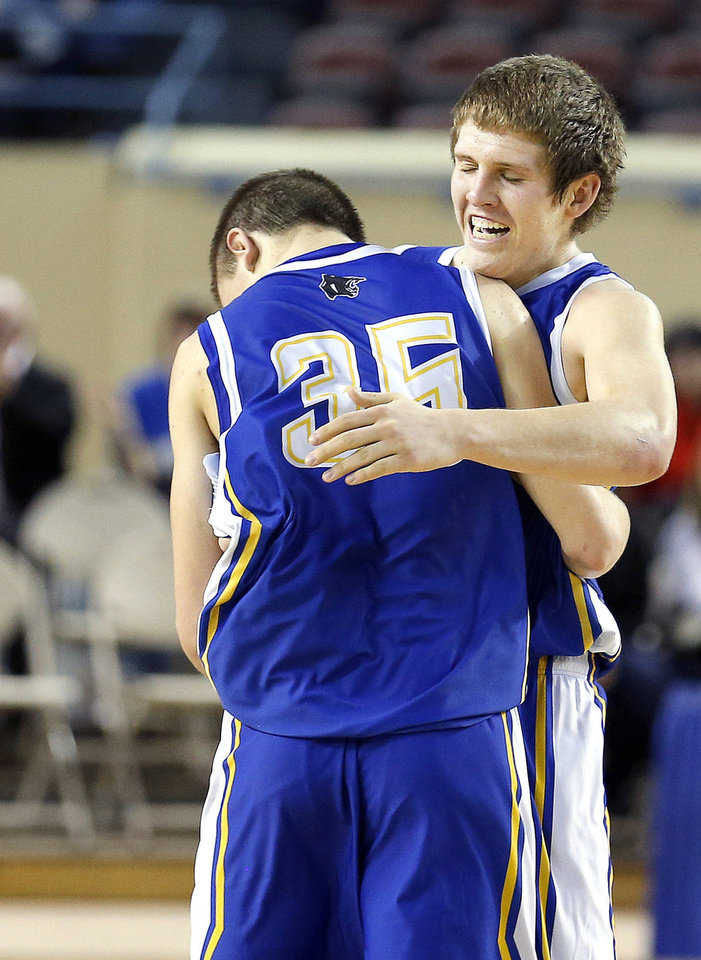 Photo - Glencoe's Hunter Hall and Ty Lazenby celebrate their Class A state championship. Photo by Sarah Phipps, The Oklahoman