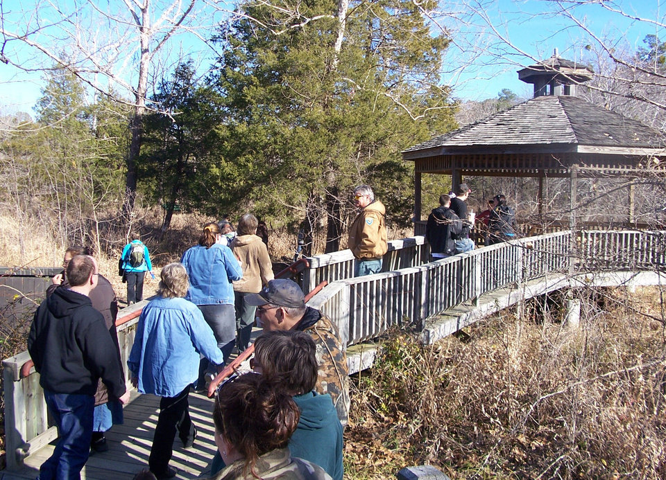 Walkers at Robbers Cave State Park in Wilburton participate in the annual First Day Hikes campaign. PHOTO PROVIDED. <strong></strong>
