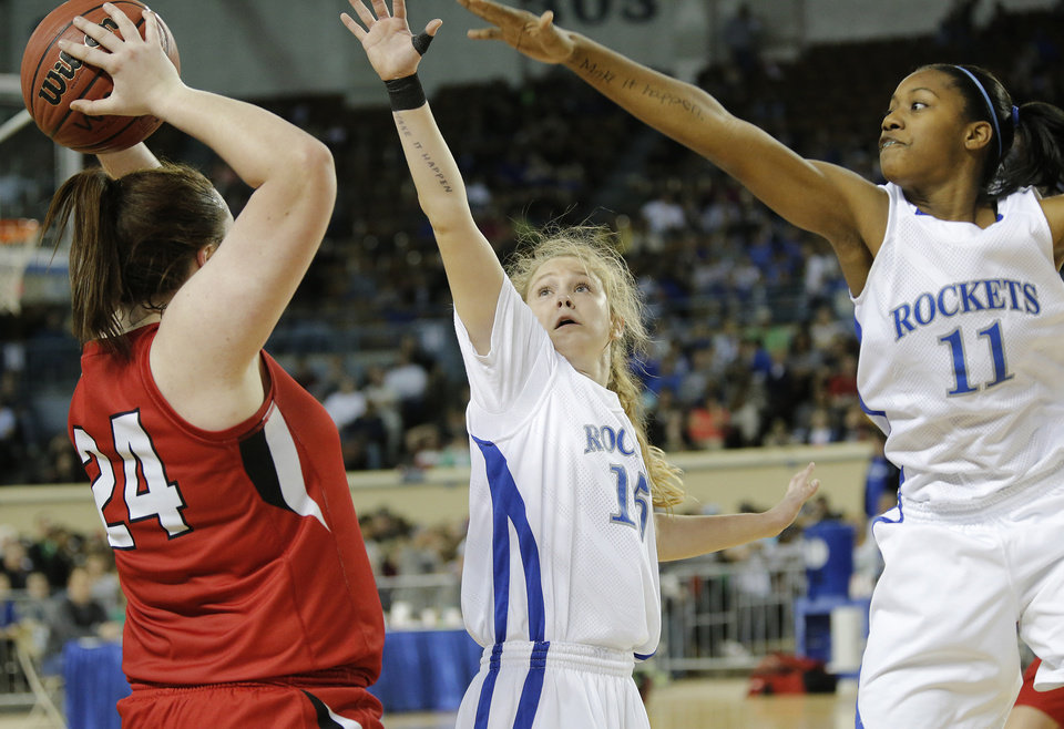 during the state high school basketball tournament Class 4A girls championship game between Fort Gibson High School and Mount St. Mary High School at the State Fair Arena on Saturday, March 9, 2013, in Oklahoma City, Okla. Photo by Chris Landsberger, The Oklahoman