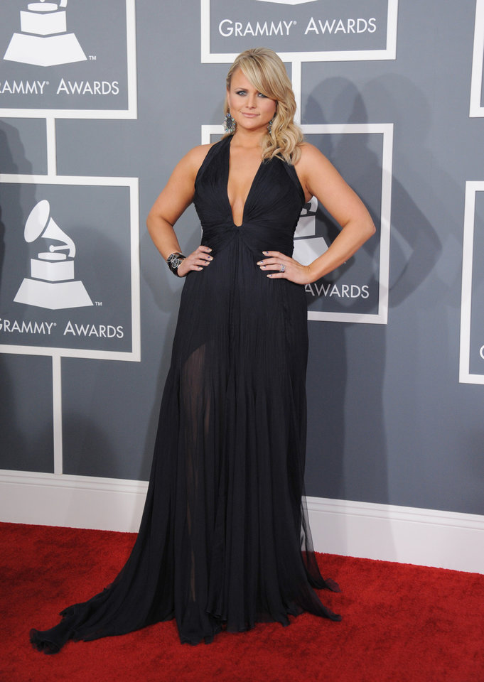 Miranda Lambert arrives at the 55th annual Grammy Awards on Sunday, Feb. 10, 2013, in Los Angeles.  (Photo by Jordan Strauss/Invision/AP) ORG XMIT: CADC266