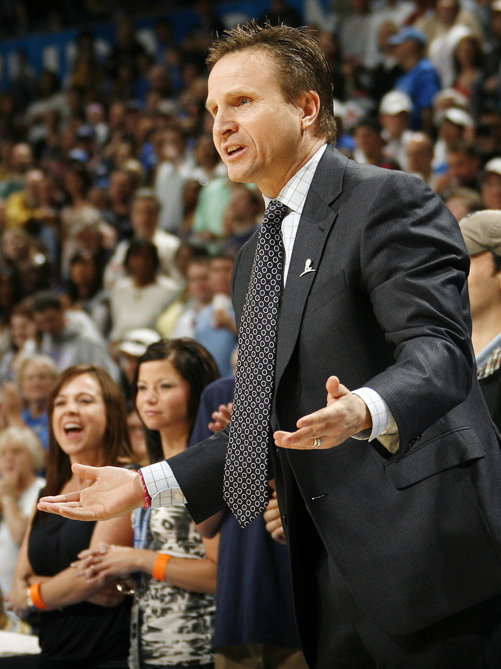 Oklahoma City head coach Scott Brooks reacts to a call during an NBA basketball game between the Oklahoma  City Thunder and the Detroit Pistons at the OKC Arena in Oklahoma City, Friday, March 11, 2011. Photo by Nate Billings, The Oklahoman